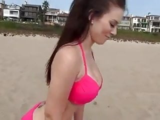 Breast hot sexy woman Hot busty bikini woman does sexy workout on the beach