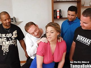 Tanned blonde fuck Big tits tan slut gangbang fuck party