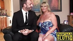 Delectable mature sub pleases young guy and plays with him