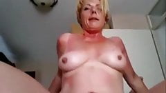 granny amateur smiles while riding cock