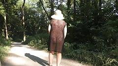 Wife in transparent dress in public park