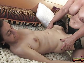 Anal strapon fucked Lesbian threesome with lots of oil and anal strapon fucking