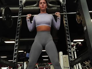 Fantisies panties tgp No pantie no bra at the gym camel toe cameltoe pussy shape