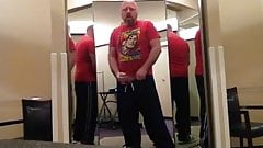 Bear jerking off in a changing room
