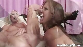 Two Hot Babes are having a three way with a lucky guy