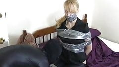 Girl Duct Tape Gagged and Bound by Masked Burglar