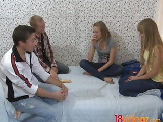 Naive teen seduced video 18 videoz - naive teen cuties enjoy a quick foursome
