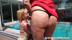Greedy granny with grandpa at the pool