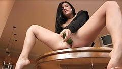 Hot Mature Brunette - Big Dildo & Deep Cucumber
