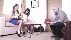 Russian teacher fucks two young schoolgirls