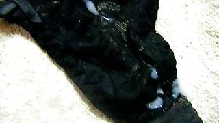 cum on black thong