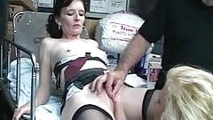 Brunette spreads legs with electric dildo while blonde slut licking her clit