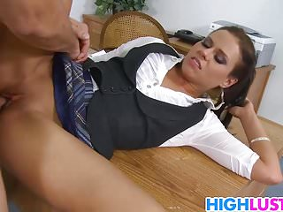 Fucking the teachers - Two horny schoolgirls sharing the teachers cock