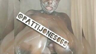 Huge black tits showering