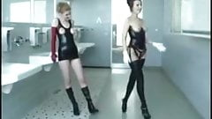 Lesbian dildo panty slave play