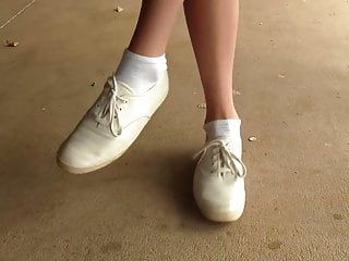 Sexy white cheerleaders Cheerleader chasity in keds sneakers and white socks