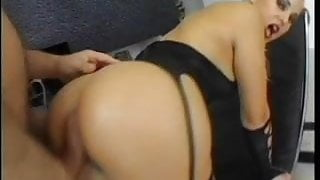 Heavyset Janella DPed on apartment floor by fat cocks