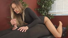 Blonde femdom mistress  Bound Edging handjob
