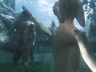 Lusty argonian maid porn Vidal fucks two argonians