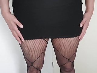70s fashion pussy Alysha upskirt in fashion fishnet pantyhose