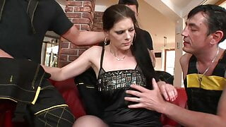 MILF's ass gets pounded hardcore while she blows three cocks