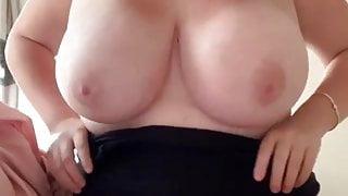 Busty chubby girl stripping