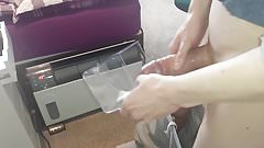 Skinny Teen unloads Into see Through Box