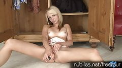 Coed blonde cutie cums on her toy