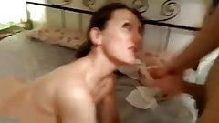 Dirty russian milf suck two cocks