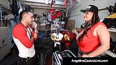 Luscious Latina Angelina Castro Mouth Fucks Grease Monkey!