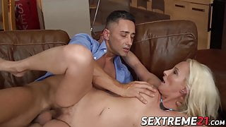 Mature blonde Szandi sucks young dick and gets pounded