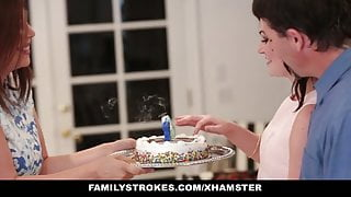familyStrokes - Fucking  dad While StepMom Cooks