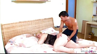 Curvy STEPMOM Touched and Woken Up by Young Stepson to Fuck