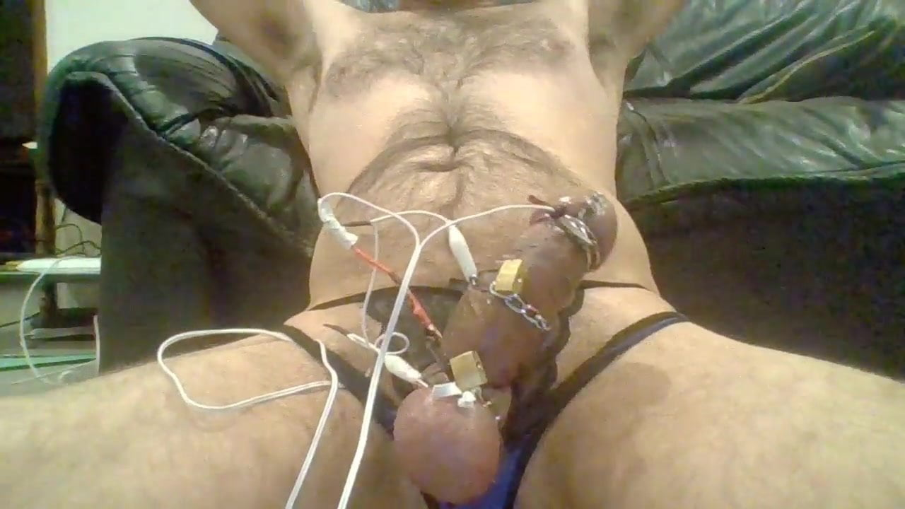 Cbt cock and ball torture electro cum poppers pig