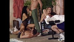 Julia and Draghixa have an orgy by the pool, upscaled to 4K
