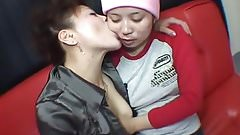 Asian Lesbians Kisssing and Licking Face