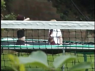 Trampoline clips sexy 2 chicks jump topless on outdoor trampoline