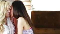 Oral leads to scissoring for lesbian MILF and petite teen