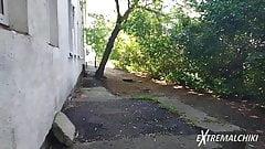Emo handjob behind a dormitory