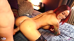 Monster Cock Cum on Redhead German Hooker Teen and Put back