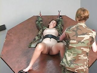Naked girls tied and tortured - Young bdsm brunette soldier girl is restrained and tortured in dungeon