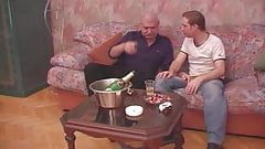 Ukranian Daddy Drinks and Breeds on Sofa