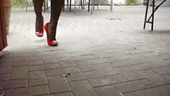 Red Patent High Heels with 17cm Black Heel