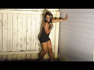 Piss on the electric fence Black girl strips by fence