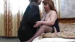 Plump mom with saggy boobs & guy