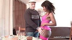 Amateur black slut sodomized in 3some with Papy Voyeur