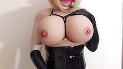 Big Tit Sissy Girl Living Doll jerks and cums