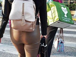 Greek letter latex - Greek girl in leather leggings 3