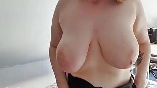 18yo GERMAN BBW Teen Girl huge saggy Tits Masturbates Pussy