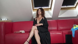 Hot MILF with tight pussy without bra and panties reads a book